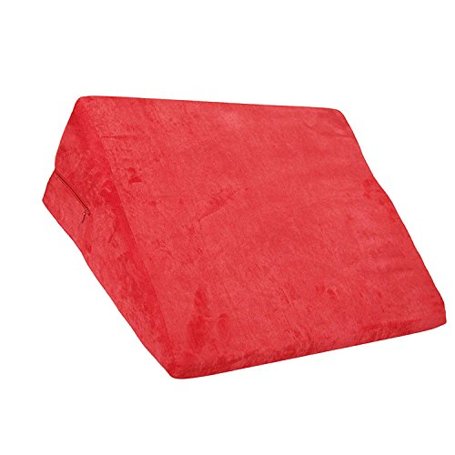 Foam Cushion Triangle Wedge Bed Pillow Aid Ramp with Removable Cover Red