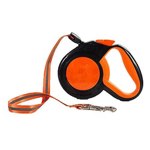 XL- rollinnen intrekbare hondenlijn, actieve honden tot 60 kg met een grote straal van 5/8 m, wirwar gratis 360 met anti-slip handgrepen, inschuifbare hondenriem, 5m, oranje