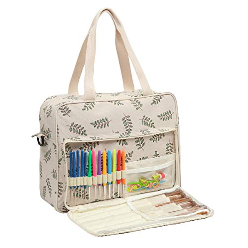 Becko Yarn Bag Crochet Bag Knitting Bag Yarn Tote Organizer for Projects, Yarn Balls, Crochet Hooks, Knitting Needles, Stitch Holders and Other Accessories