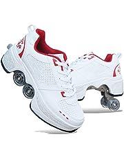 QINAIDI Rolschoenen Skate Schoenen voor Vrouwen Mannen, Jongens Kids Wielschoenen Roller Sneakers Schoenen, voor Unisex Beginners Gift