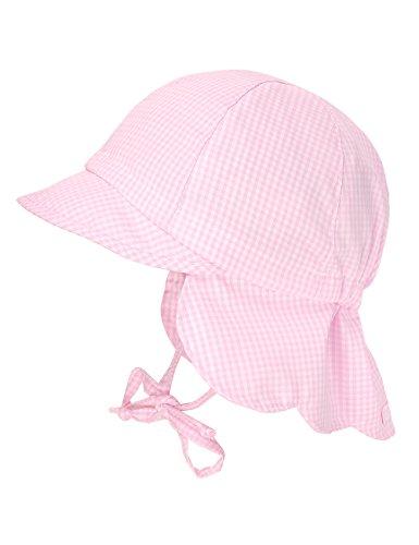 maximo Baby-Mädchen Schildmütze, Nackenschutzmütze, Bindeband Mütze, Rosa (Mandelblüte-Weiss-Karo 4), 45