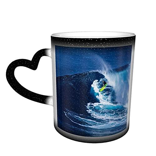 Oaieltj Taza cambiante de calor, hombre océano surf personalizado calor sensible taza de café taza de té de leche taza de café mágica tazas de café cortadas tazas