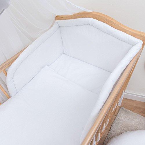 Juego de Cama Para Bebé de 3 Piezas Con Parachoques grueso Para Cuna de 120 x 60 cm - Blanco
