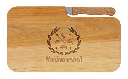 LASERHELD meinbecher Brotzeitbrett Jausenbrett Holz Erle Messer WAIDMANNSHEIL Geschenk Männer Frauen Jäger Schneidbrett Holz Geschenkidee für Ihn und Sie