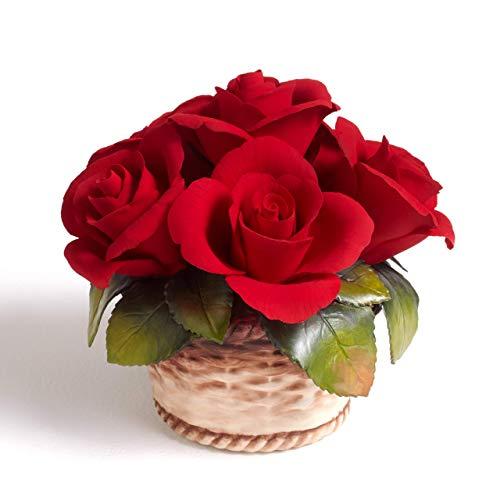 Cesto medio con rose aperte fatto interamente in porcellana fatta e dipinta a mano Prodotto in Italia da Unionporcelain con marchio Napoleon Made in Italy