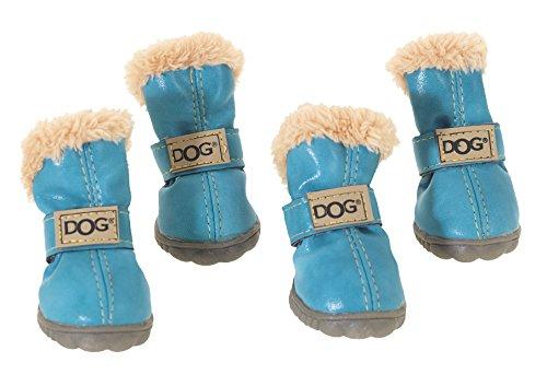 CHAPUIS SELLERIE Set de 4 Chaussures en PVC pour Chien Bleu Taille 2