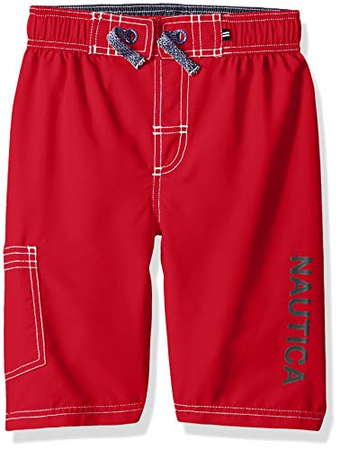 Nautica Jungen Boys' Swim Trunk with UPF 50+ Sun Protection Badehose, Anker Karmin, Medium