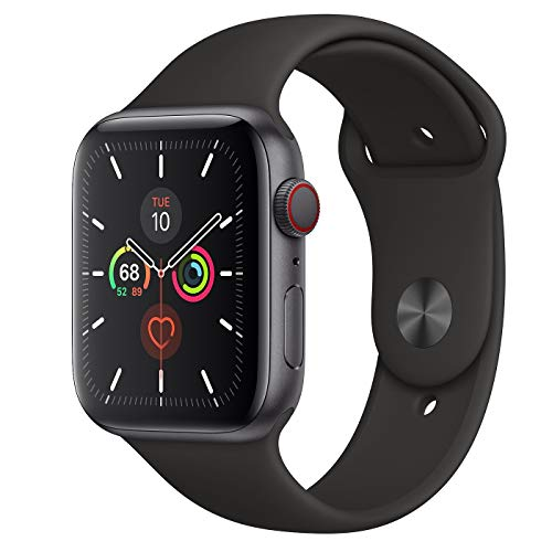 Apple Watch Series 5 GPS + Cellular - 44mm Space Gray Aluminum Case with Black Sport Band (Renewed)
