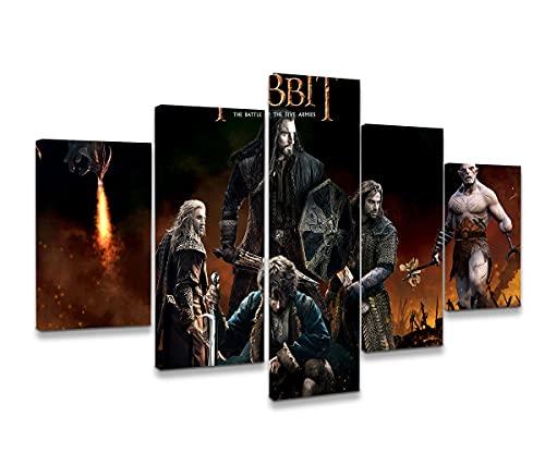 Póster Grande De 5 Paneles Película Clásica El Hobbit La Batalla De Los Cinco Ejércitos Pinturas sobre Lienzo Arte De Pared para Sala De Estar Dormitorio Decoraciones para El Hogar Pintura En Lienzo