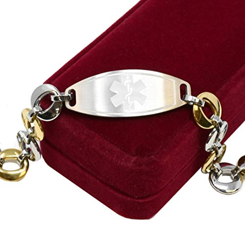 My Identity Doctor Medical Bracelet for Women with Free Engraving, Stainless Steel Personalized Medic ID Custom Sized, 1.5cm Gold Tone Chain White Alert | Made in USA - Wrist Size 6.75 inch