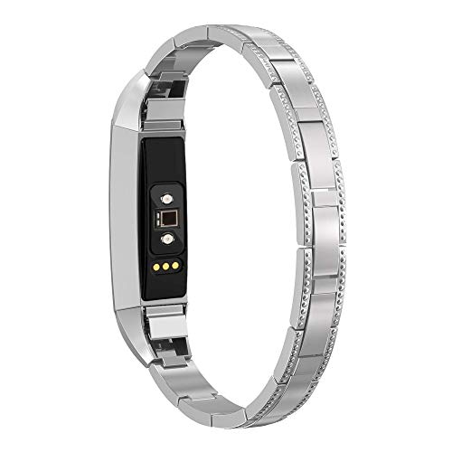 SWEES Metal Bands Compatible with Fitbit Alta Bands Small, Fitbit Alta HR Bands Women Metal Strap Replacement Wristband Accessories Bracelet Bangle Wrist Band for Fitbit Alta / Alta HR Silver