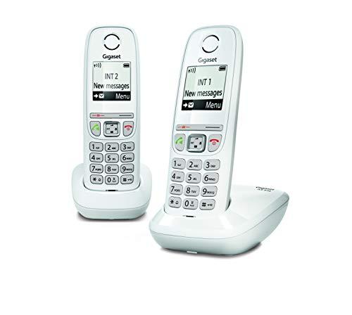 Gigaset AS470 Duo - Teléfono (Teléfono DECT, Terminal inalámbrico, Altavoz, 100 entradas, Identificador de Llamadas, Blanco)