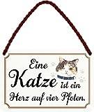 schilderkreis24 Targa in metallo con scritta divertente 'Ein gatto ist ein Herz.' in stile vintage, idea regalo, regalo divertente di compleanno, Natale per tutti i fan dei gatti, 18 x 12 cm