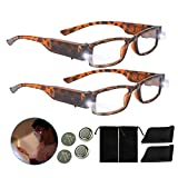 Bright LED Readers with Lights Reading Glasses Lighted Magnifier Nighttime Reader Compact Full Frame Eyewear Clear Vision Unisex Clear Vision Lighted Eye Glasses (Brown, 150)