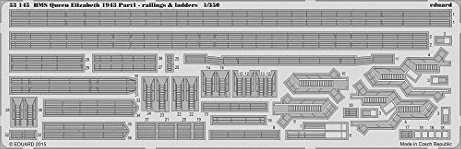 Eduard Photoetch 1 350 - HMS Queen Elizabeth 1943 - Railing & Ladders (TRU05324) by Eduard
