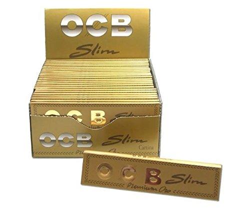 OCB Premium Slim Zigarettenpapier, goldfarben, 5 Packungen
