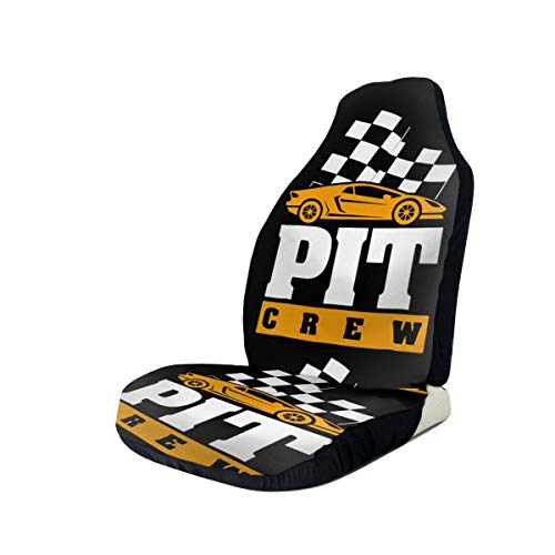 TAK-JK6 Car Seat Covers Pit Crew Checkered Flag Cool Car Racing Front Seat Protectors Cushion Compatible with Most Cars Truck SUV Van 1 PCS