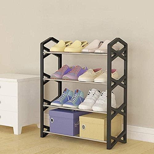 ZAIHW Zapatero pequeño de Cuatro Pisos Conjunto de Dormitorio Familiar Estante de Almacenamiento Gabinete de Zapatos Moderno y Simple 42x19x60cm Taburete para Cambiar Zapatos (Color: Negro)