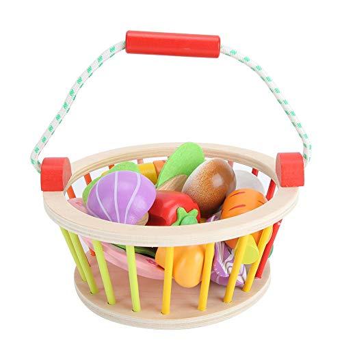 Kinderen educatief speelgoed simulatie fruit groente gesneden set houten mand speelhuis speelgoed 1 x mand 1 x schotel 1 x houten mes 7 x simulatie groente