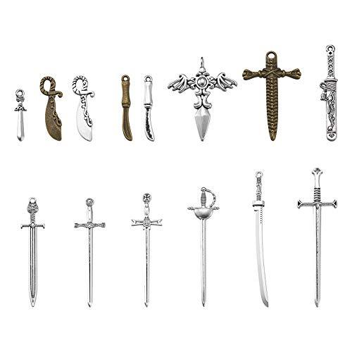 Cheriswelry, 34 piezas de espadas largas tibetanas cuchillo daga dijes colgantes 14...