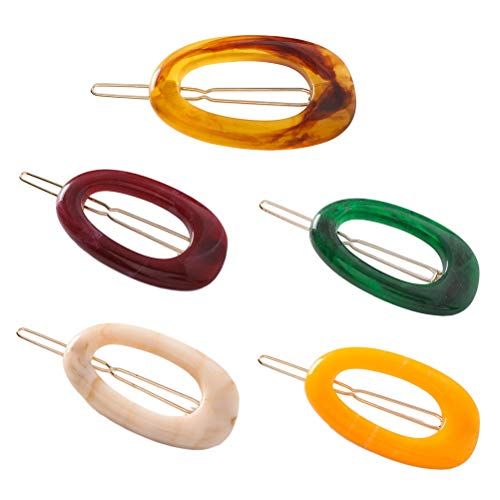 Lurrose 5pcs pinces à cheveux ovales ambre épingle à cheveux en résine résine barrettes accessoires de cheveux vintage pour les filles (brun, beige, violet foncé, vert, jaune)