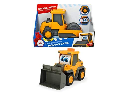 Dickie Toys Happy Volvo Moving Eyes, Volvo Walze oder Volvo Radlader, Spielzeugauto mit Freilauf, Augen rollen während der Fahrt, für Kinder ab 1 Jahr, 2-fach sortiert, 16 cm
