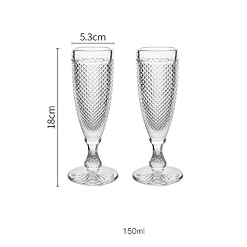 2 Stks Kleurrijke Vintage Relief Wijnglas Goblet Graveren Glas Champagne Cup Huishoudelijke Juice Cup Champagne Glas Bruiloft Bekers Transparant 150ml