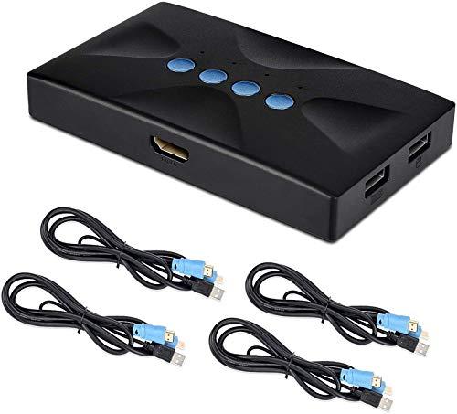 Conmutador KVM USB HDMI 4 Puertos con Cables, Selector Switch para 4 PC Compartir Video Monitor y Teclado, Ratón, Escáner, Impresora, HUD 3840x2160/ 4K×2K@30hz