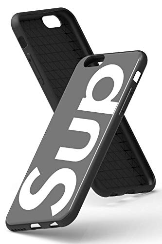 SUPR Funda protectora de SUP [compatible con Apple iPhone 6 Plus, en negro, carcasa de diseño sencillo con logo – letras – cristal templado – carcasa fina de TPU