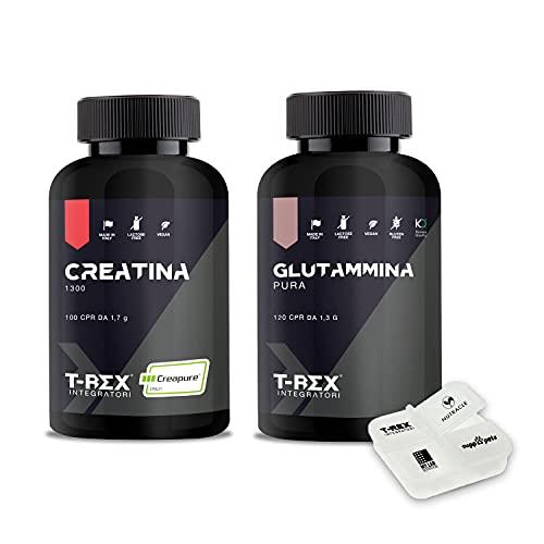 COMBO MASSA MUSCOLARE: CREATINA Micronizzata 100 compresse + Glutammina Pura Kyowa 120 compresse. Per Aumento e Definizione Massa Muscolare