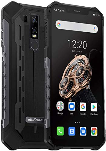Ulefone Armor 6S (2019) Outdoor Handy mit Qi fähig, 6.2 Zoll FHD+ Display, 6GB RAM + 128GB ROM Helio P70 Android 9.0 Smartphone IP69K, 5000mAh Akku, UV-Detektor, Global 4G Version (Schwarz)