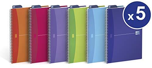 Oxford 100102483 Quaderno Spiralato My Colours, Formato A5, 180 Pagine, Carta 90 gr, Rigatura 5 mm, App Scribzee, Assortito