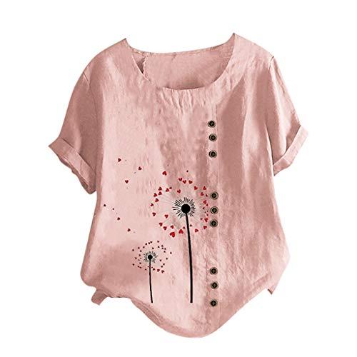 HebeTop Plus Size Tops Women Vintage Short Sleeve Cotton Linen Blouse Early Autumn O-Neck Dandelion Print Blouse Top T-Shirt Pink