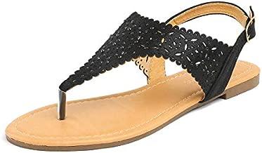 LE MIU MEDINIE Women Rhinestone Casual Wear Gladiator Flat Cut Out Sandals,8.5 B(M) US,Black