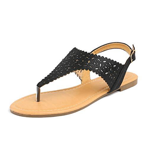DREAM PAIRS Medinie Women Rhinestone Casual Wear Cut Out Flat Sandals Black Size 7.5
