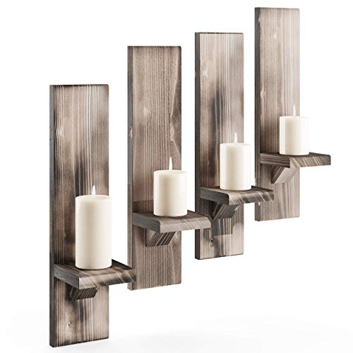 Rustic Candleholders (4) | Wall-Mount Wooden Candle Holders | Floating Shelves | Wallmounted Rustic Pillar Candle Sconce | Hanging Shelf | Farmhouse Wall Decor | Large Wooden Handmade (Rustic)