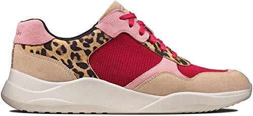 Clarks Damen Sift Lace Sneaker Niedrig, Schwarz (Leopard Print Leopard Print), 40 EU