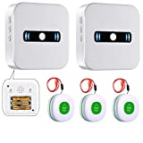 Daytech Portable Caregiver Pager Wireless Call Button for Elderly/Emergency Alert System for Seniors/Elderly Aids for Living/Call Light System with 2 Portable Receiver+3 Necklace Call Buttons