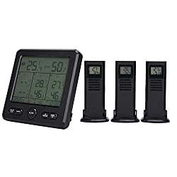 Weather Station Wireless Indoor Outdoor Thermometer, TS‑6210 Digital Weather Thermometer with Clock, Calendar and Humidity