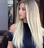 VEBONNY Ombre Platinum Rubio Encaje frente Pelucas con raíces marrones 613 peluca Pelo sintético 22 pulgadas 12x3 tipo encaje sedoso recto Glueless Pelucas VEBONNY-036-NUEVO