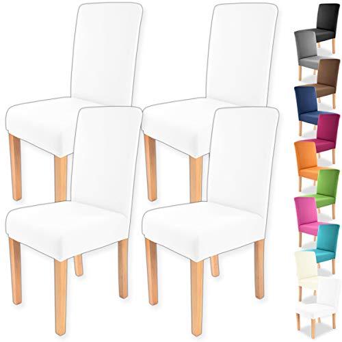 """Gräfenstayn 4pcs Fundas para sillas elásticas Charles - respaldos Redondos y angulares - Paquete Benefit - Ajuste bi-elástico con Sello Oeko-Tex Standard 100:""""Confianza verificada (Blanco)"""