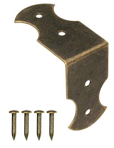 FUXXER - 40 conectores angulares, herrajes, esquinas angulares, soportes para muebles, protección de bordes, conexión, diseño vintage de latón antiguo, 23 mm x 13 mm, 40 unidades con tornillos.