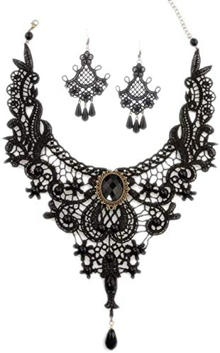 Aysekone Steampunk Black Lace Gothic Victorian Lolita Pendant Choker Necklace Earrings Set product image
