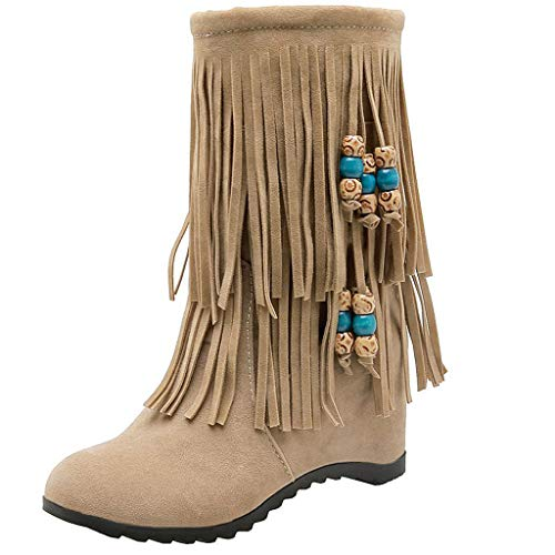 Find Bargain Kiminana Women's Fashion Warm Short Boots Women's Tassel Boots Fringe Hidden Wedge Heel...