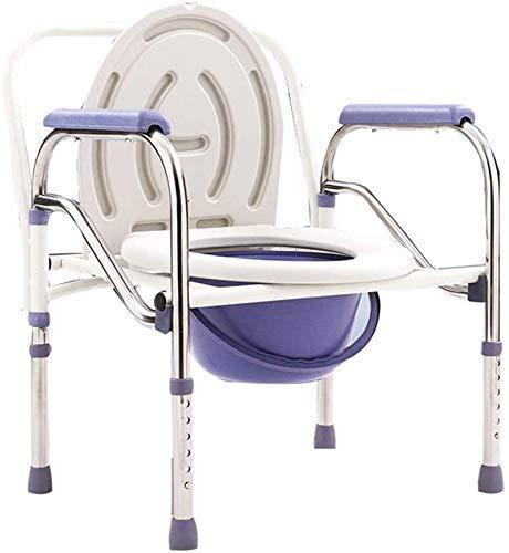 Kraftig sängstol, hopfällbar toalettstol i rostfritt stål, höjdjusterbar, medicinsk hjälp för äldre platser, lätt att använda