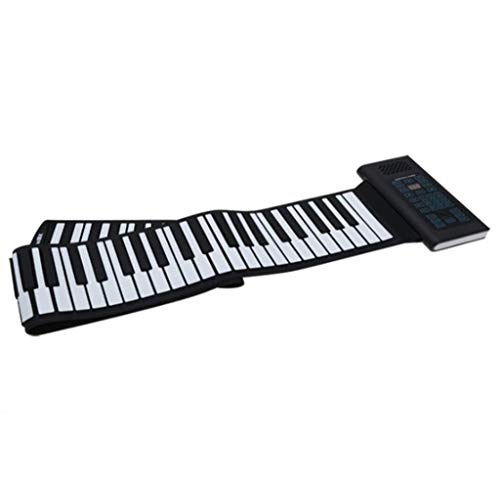 TOHOYOK Tragbare 61/88 schlüssel aufrollbare Klavier, MIDI elektronische Tastatur, for Kinder-Anfänger Musikerziehung Spielzeug, Built-in 1800mA (Color : Black, Size : 61key)