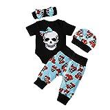 Yuemengxuan 4 Piezas de Traje de bebé de Halloween con Estampado de Calavera Negro Mameluco de Manga Corta + Pantalones + Sombrero + Guante Conjunto de bebé de Halloween