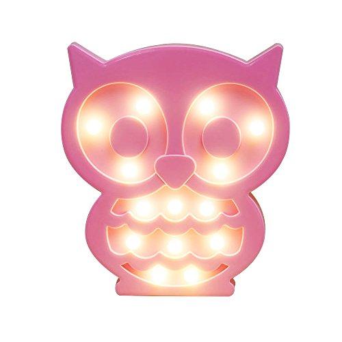 REKYO Laufschrift LED Nachtlicht, niedlichen LED-Lampen an Wand, Raum dekoratives Licht, Tisch Lampe Stimmung Beleuchtung Lampe Kinder Zimmer Weihnachten Deko (Eule)