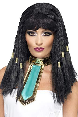 Smiffys Damen Geflochtene Perücke mit Pony, Perücke mit Goldverzierung, Kleopatra Perücke, Schwarz, One Size, 42081