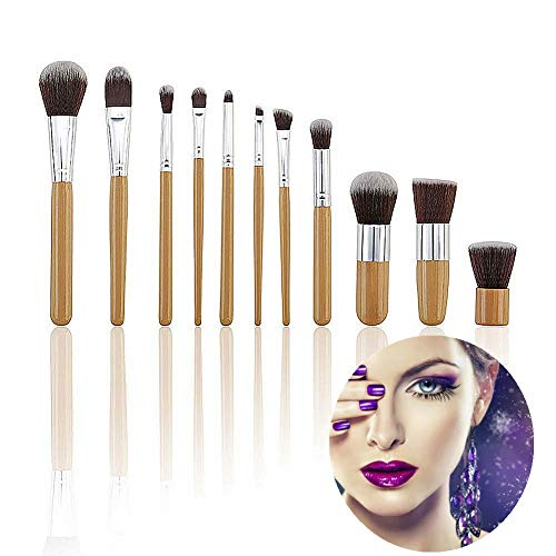 WZRYJS Lot de 11 pinceaux de maquillage professionnels avec manche en bambou synthétique pour fond de teint, estompage, correcteur, contour des yeux, poudre liquide, crème